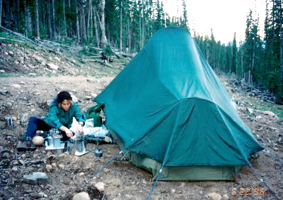Cooking and Cleanup. High Altitude Camp, Steep Slope, Tent is Level.