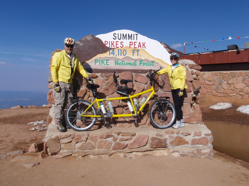 Dennis and Terry Struck, Summit, Pike's Peak, Colorado.