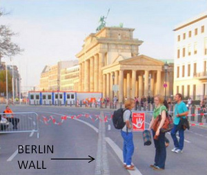 Brandenburg Tor, the throughway is closed to traffic and bicycles for a State Visit. The double line of bricks is the old Berlin Wall.