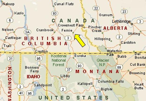 Map Fernie Canada Fernie, British Columbia, Canada, Trans Canada Trail (Segment